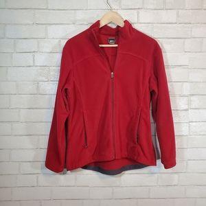 REI dark red full-zip fleece jacket
